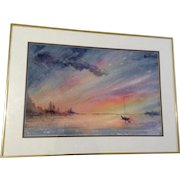 Lillian Adler, Calm at Sunset, Sailboat Sitting In Natural Harbor Nautical Watercolor Painting