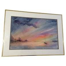 Lillian Adler, Calm at Sunset, Sailboat Sitting In Natural Harbor Nautical Watercolor Painting