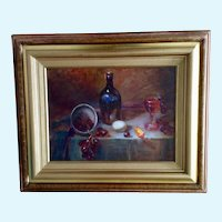 Table with Wine Bottle Fruit Still Life Oil Painting