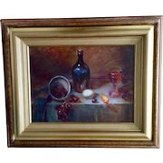 Still Life Oil Painting on Board, Table Scene With Wine Bottle, Grapes, Orange Slice and an Egg, Unsigned