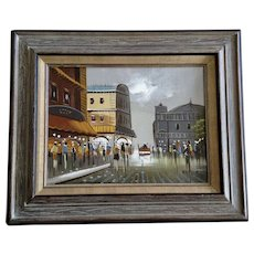 Kester, European Street Scene Oil Painting On Canvas Signed By Artist