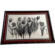 Black Tulip Flowers Watercolor Painting Works on Paper Signed by Asian Artist