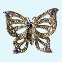 """Stunning Silver-tone Aurora Borealis Rhinestone Tips Butterfly Insect Costume Jewelry Pin Brooch 1-1/2"""""""