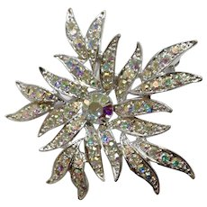 Sarah Coventry Silver-tone Aurora Borealis Rhinestone Encrusted Floral Starburst Brooch Pin Sarah Cov Costume Jewelry 2-1/4""