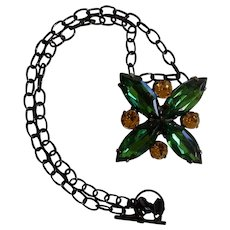 Origami Owl Black Chain with Added Rhinestone Green Floral Pendant Necklace