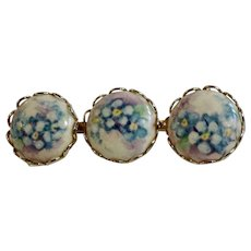 Three Hand Painted Porcelain Blue Flower Circles Together on Vintage Brooch Pin Costume Jewelry
