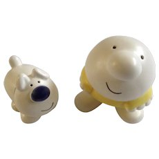 Ziggy and Fuzz the Dog Salt and Pepper Shakers Universal Press Syndicate 1979 Ceramic S&P Figurines