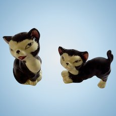 Vintage Figaro The Black And Off White Cat Pinocchio Salt and Pepper Shakers Ceramic S&P Figurines Japan
