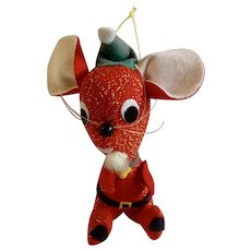 Vintage Red Mouse Elf Christmas Tree Sparkle Ornament Stuffed Plush Japan