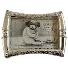 Vintage Postcard Bull Dog Puppy Holding Stomach, Never Again, Smoke Cigar 1909 Silver-Tone Framed A.E. Avery