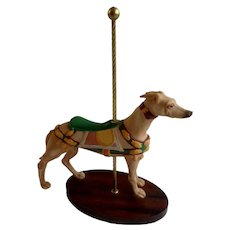Franklin Mint The Treasury Of Carousel Art Greyhound Dog Porcelain Figurine 1990