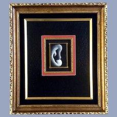 Weird Study of an Ear Miniature Portrait Oil Painting