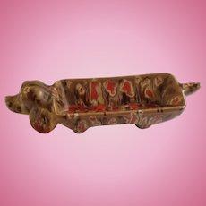 Mid-Century Brown Dachshund Dog Hors d'oeuvre Condiment Art Pottery Ceramic Lava Trinket Dish Figurine