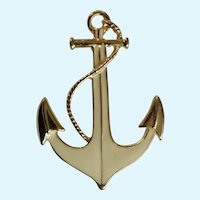 Park Lane Anchor Gold-Tone and Cream Enamel Brooch Nautical Pin Costume Jewelry 2-1/4""