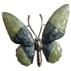 Enamel Green and Blue Winged Butterfly on Silver-tone Brooch Pin Costume Jewelry 1-3/4""