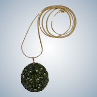 "Hand Cut Emerald Green Jade Stone Asian Design Pendant On Gold-Tone Chain Necklace 36"" Long"