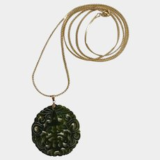 """Hand Cut Emerald Green Jade Stone Asian Design Pendant On Gold-Tone Chain Necklace 36"""" Long"""