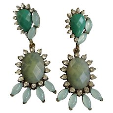"""Vintage Dangling Earrings With Green Faux Stones and Rhinestones Pierced Ear Stud Post Costume Jewelry 2-1/4"""""""