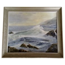Beautiful Coastal Seascape Oil Painting on Canvas Board Initialed By Artist