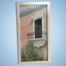 Zelpha Green, Balcony Terrace With Green Shutters Oil Painting on Canvas Signed by Colorado Artist