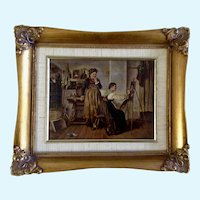 Portrait Studio Stone Lithograph Print Highly Enhanced Oil Painting