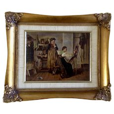 Inside View of a Portrait Studio Stone Lithograph Print Highly Enhanced Oil Painting On Wood Plank 20th Century