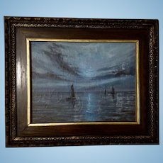 Don Key, Nocturnal Nautical Seascape Sailboats In The Moonlight Oil Painting on Canvas Signed By Artist 1965