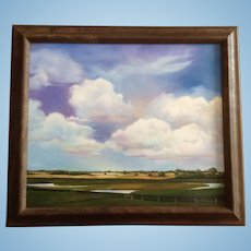 Plush Green Landscape and Blue Sky Skyscape Realism Oil Painting on Canvas