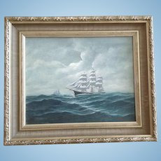 Robert Lee Perry (1909 - 1991) Nautical China Lightning Clipper Ship Seascape Oil Painting Signed By Listed Artist