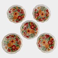 1960's Glass Fruit or Desert Bowls With Wild Flowers, Floral Transfer and Gold Trim, 6 Inch Dishes, 5 Pieces
