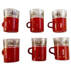 Mid-Century Demitasse Cups Crown Corning Avir Christmas Glass Set Italy