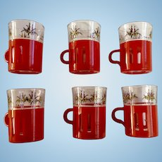 Vintage Demitasse Cups Crown Corning Avir Christmas Glass Set with Candles and Flowers, Red and Clear Italy