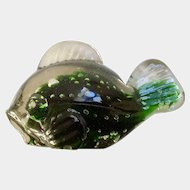 Lefton Fish Japan Art Glass Paperweight Green Encased with Bubbles