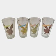 Playboy Bunny Beer Glasses Mens Magazine Brand Pattern Dots, Stripes and Checkers on Rabbits Logo 1980's 16oz Pint Set of 4 Cups