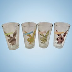 Playboy Bunny Logo 1980's Beer Glasses Mens Magazine Brand Pattern Dots, Stripes and Checkers on Rabbits 16oz Pint Set of 4 Cups