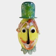 Art Glass Clown Face with Hat Cased Bottle Hand Blown With Overlaid Glass
