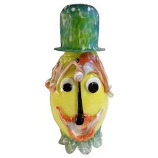 Large Groovy Vintage Art Glass Clown Face with Hat Cased Bottle Hand Blown With Overlaid Glass
