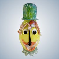 Mid-Century Art Glass Clown Face Bottle Hand Blown With Overlaid Glass