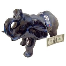 Blue Mountain Pottery Large Trunk Up Elephant Titled, 'Safari' Limited Edition Mint Condition With Certificate Figurine # 1320 Discontinued Statue