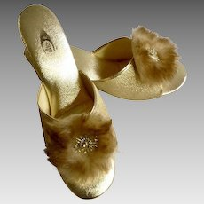 Vintage Gold Mules Aurora Borealis Rhinestone Faux Fur Size 7 Shoes Made in the U.S.A.