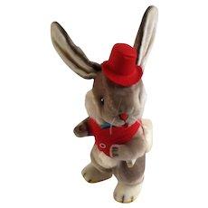 Vintage Gund Boy Anthropomorphic Bunny Rabbit Music Box Plush Stuffed Animal Plays, Go To Sleep Little Baby