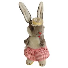 Vintage Gund Girl Anthropomorphic Bunny Rabbit Music Box Plush Stuffed Animal Plays, Go To Sleep Little Baby