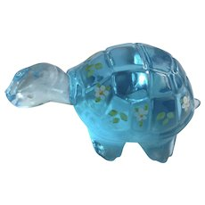 Fenton Aqua Blue Translucent Glass Floral Hand Painted Turtle Signed By Artist K S Bushkirk Figurine