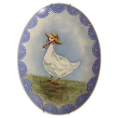 Adorable Egg Shaped Hand Painted Mother Goose Plate Wall Decor Easter Signed By Artist Nancy