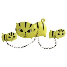 Mid-Century Pacific Imports Japan Flat Faced Kitty Cats on Chains Florescent Yellow Ceramic Figurines
