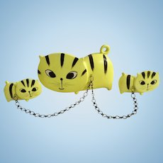 Pacific Imports Japan Flat Faced Kitty Cats on Chains Florescent Yellow Ceramic Mid-Century Figurines