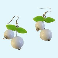White And Green Dangling Berries on Silver-Tone Fishhook Earrings