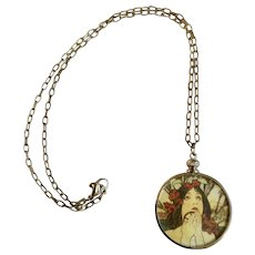 """Beautiful Art Deco Style Lady in a Glass Round Necklace Costume Jewelry 1-1/4"""""""