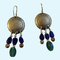 Silver Shields With Dangling Colored glass Beads Fishhook Earrings for Pierced Ears 925 Sterling
