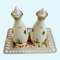Royal Albert Old Country Roses Oil Vinegar Cruet Tray Set